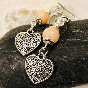 Antiqued Silver Heart Earrings w Pink Adventurine